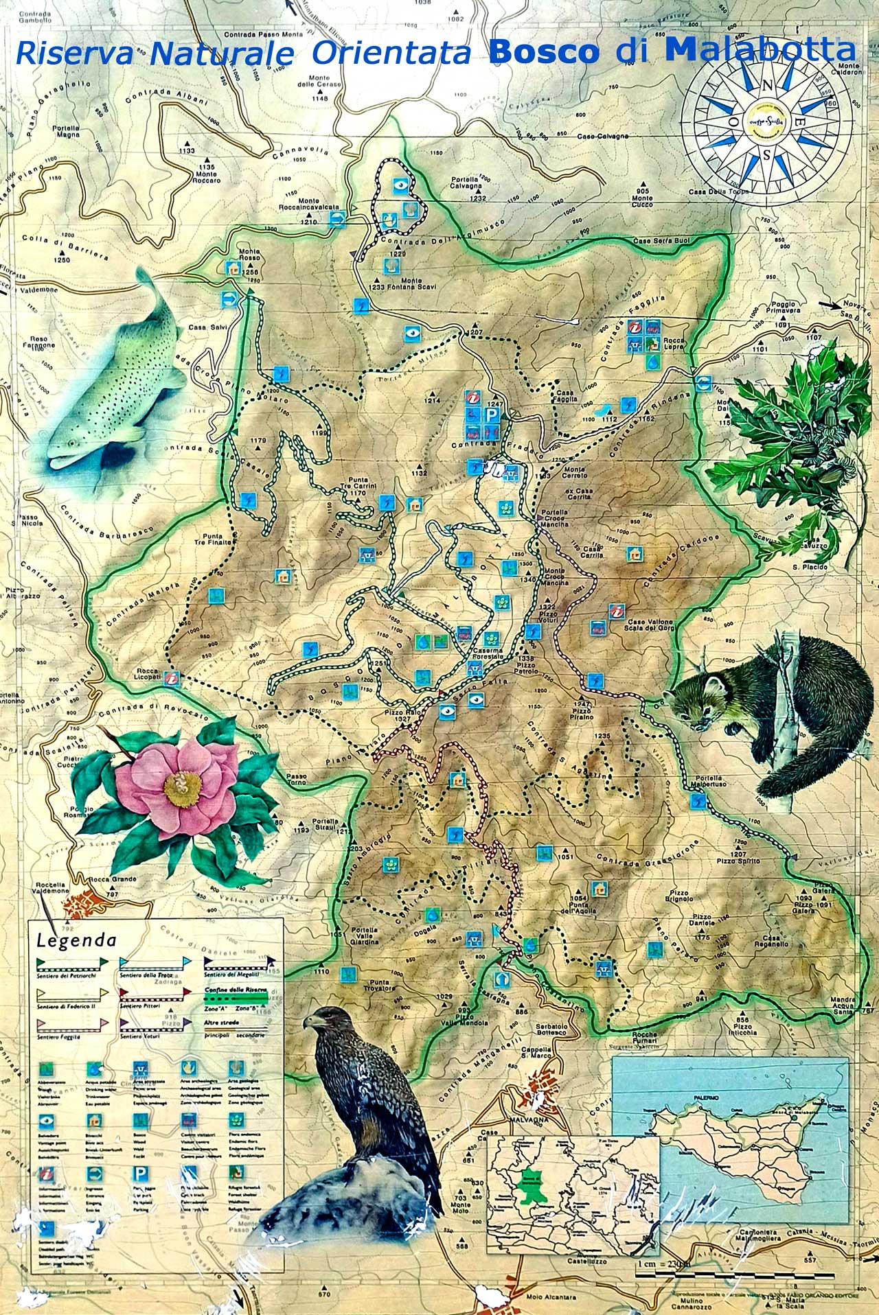 Mappa della Riserva Naturale Orientata-Bosco di Malabotta